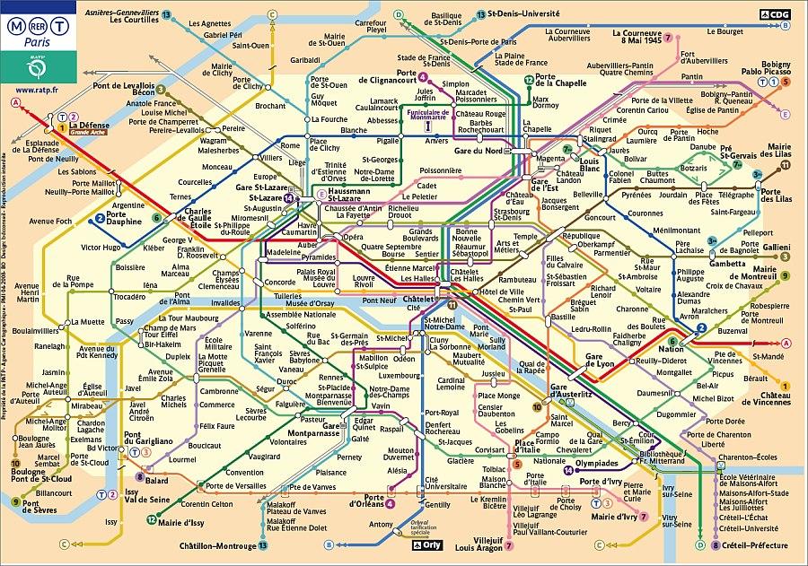Paris RER Metro Map